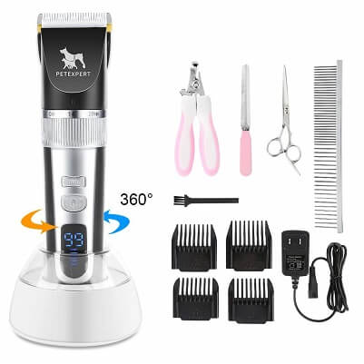 PetExpert Dog Clippers Cordless Dog Grooming Clippers Kit Rechargeable Quiet Pet Hair Clippers Trimmer with 10 Dog
