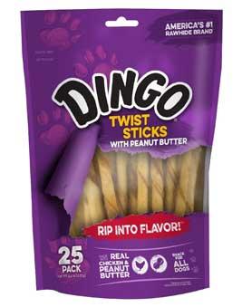 Dingo Twist Sticks with Peanut Butter, Rawhide Chew